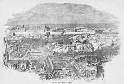 DUBLIN, Ireland – PANORAMIC VIEW * Detailed Antique Engraving, Made 1858 (orig.)