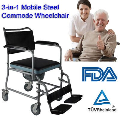 Mobile Steel Commode Chair Bedside Commode wheerchair Toilet Chair Rolling Chair