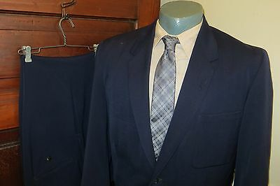 Vintage 50s Custom Tailored Mens 42 Wool Gabardine Blue 3 Button Hollywood Suit