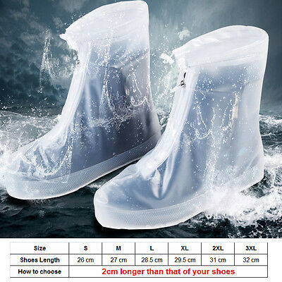 Reusable Rain Shoe Covers Bike Waterproof Zipper Overshoes Boots Gear Anti-Slip