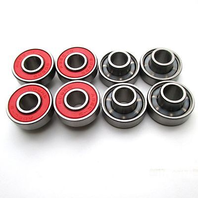 8 Pcs 608rs Speed Cruiser Skateboard Longboard Scooter Integrated spacer Bearing