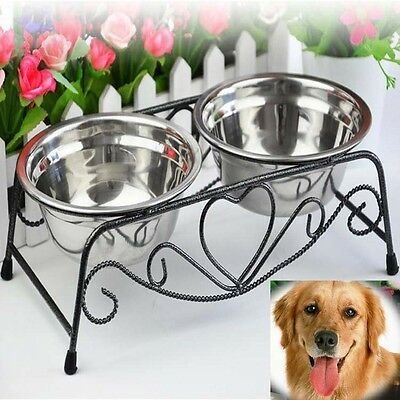 Stainless Steel Double Feeder Dish Puppy Dog Cat Pet Food Water Bowl Stand HG