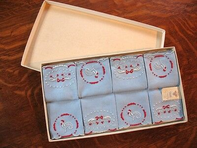 Box Set of Vintage Madeira Victory Cocktail Napkins Roosters Hand Embroidered