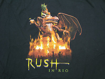 Rush Live In Rio Rock Short Sleeve Vtg TShirt Black XXXL 3XL Two Sided Tee