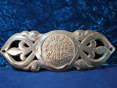 VTG STOVE WORKS Marvin Smith Co. Chicago Name Badge Plate Cast Iron-Metal OLD!