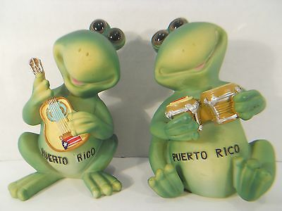 PUERTO RICO Souvenir Musician Frogs ~ 2 Figurines Playing Guitar & Lap Drums