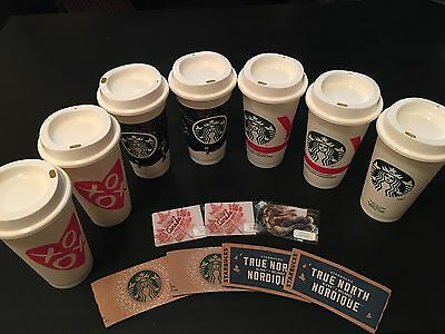 7 Starbucks REUSABLE CUPS LIMITED EDITION/CANADA GIFT CARDS/SLEEVE COLLECTABLE