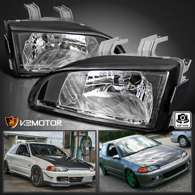 For 92-95 Honda Civic EG EJ Black Replacement Headlights Head Lamps Left+Right