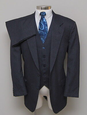 Vintage Mens 46R Custom 3 Piece Charcoal with Blue/Red Stripe Western Suit
