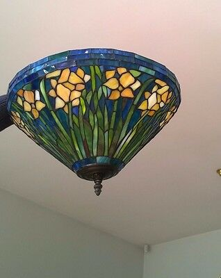Vintage leaded stained glass pendant light shade
