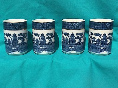 Asian Themed Porcelain Tumblers with 4 Character Seal - Blue & White