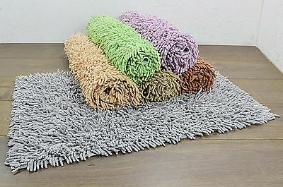 100% Cotton Shaggy Bath Mat Chenille Machine Washable Bathroom