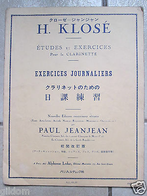Etudes & Exercices Clarinette - H. Klose - Jeanjean - Exercices Journaliers