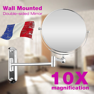 "HOT SALE 8.0"" 10X Grossissant Miroir de Maquillage Mural Pliable Double Côté FR"
