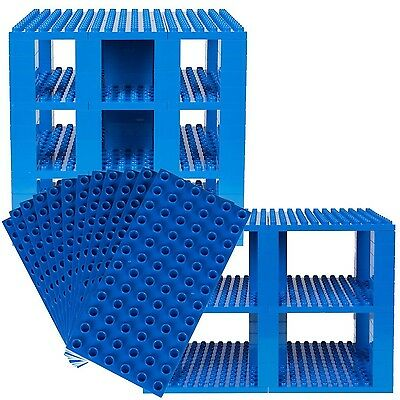 Premium Big Briks Blue Baseplate Tower Construction Set - 96 Pack Bundle - Co...