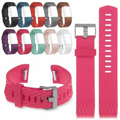 Replacement Fitbit Charge 2 Silicone Band Classic Metal Buckle Strap Wristband