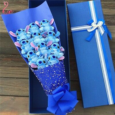 Stuffed Bunch of 11 Stitch Dolls Toys flowers Valentine Creative Gift with Box