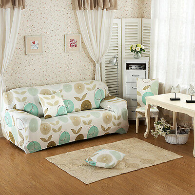Pastoral Style 1/2/3 Seater Stretch Slipcover Sofa Couch Protector Slip Cover