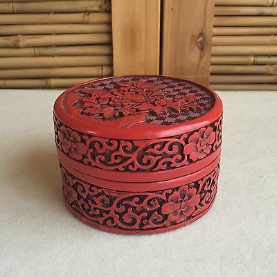 VINTAGE Chinese CARVED Lacquer CINNABAR Round LIDDED Jar POWDER Jewellery BOX