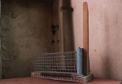 Antiques Unusual 1950's Wooden & Iron  Mousetrap/cage
