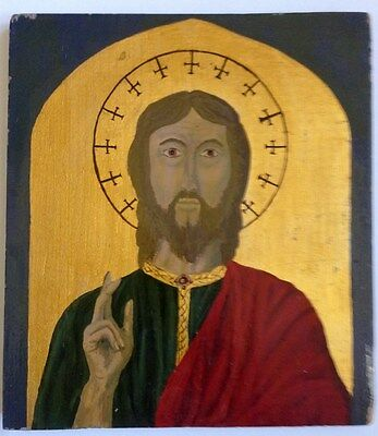 Vintage Oil On Thick Wood Board Small Icon Painting Jesus Christ Religious Art