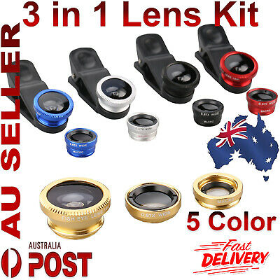 3 in 1 Lens Kit Fish Eye +Wide Angle +Macro Camera For iPhone 5 6 6S 7 Samsung