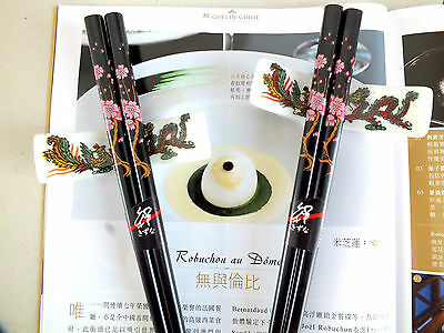 2 Japanese Pink Blossom Black Chopsticks 2 Ceramic Stand Chinese Birthday Party
