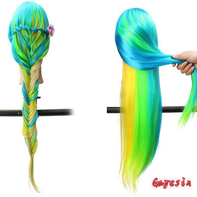 """28"""" Color Hair Hair Style Training Practice Head Hairdressing Mannequin + Clamp"""