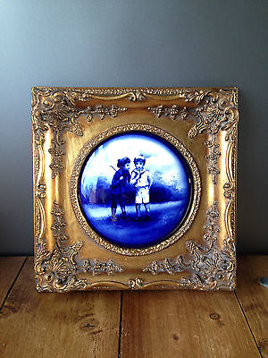 Royal Doulton Flow Blue Children Boys In Field Plaque Picture Gold Rococco Frame