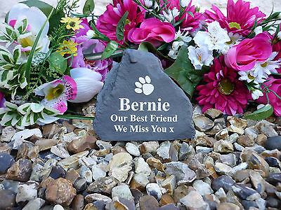 Pet Memorial Rock - Small (Stone effect) Personalised - Weatherproof - Dog