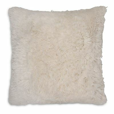 "Long Pile Soft & Cuddly Shaggy 17x17"" (43x43cm) Faux Fur Cushion Cover (Cream)"