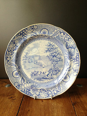 c1825 ANTIQUE BLUE & WHITE PEARLWARE PLATE STACKPOLE COURT ELKINS IRISH SCENERY