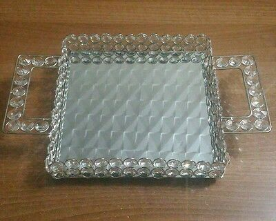 Square Crystal Silver Clear Jewelled Mirrored,  candle holder, Tray