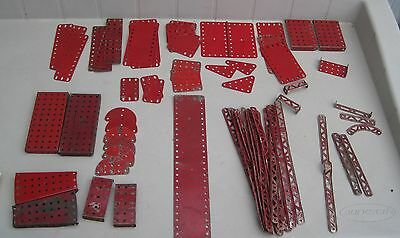 """Vintage Gilbert Erector Set  Red spare lot of (67 ) Parts 40""""s 50's"""