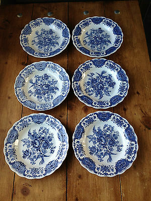 1965 Set Of 6 Ridgway Windsor Pattern Blue & White Asiatic Pheasant Plates Bowls