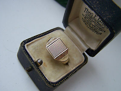 Superb Vintage Heavy 3.7G Solid 9Ct Gold Signet Ring Size S London 1958 Rare