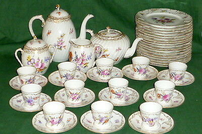 Old Nymphenburg Dinner coffee services Colorful Flowers 12 People