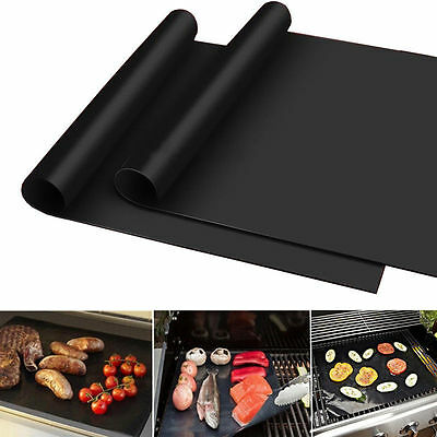 2 x Reuseable BBQ Liner Non-Stick Barbecue Cooking Grill Baking Mat Tools Sheet