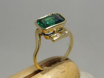 18ct CT YELLOW GOLD EMERALD AND DIAMOND RING SIZE Z 1/2 STUNNING AND HUGE