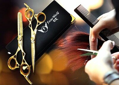 """Professional Hairdressing Barber Hair Cutting Thinning Scissors Set 7"""" GOLD"""