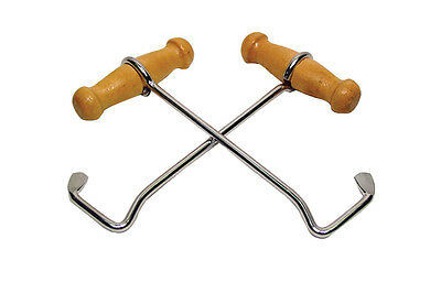 NEW Western Boot Hooks HEAVY DUTY PAIR Wood Bootstrap Pulls CHROME Cowboy Puller
