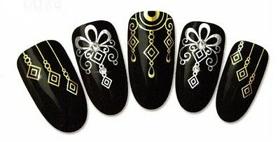 water decal stickers ongles HD nail art manucure vernis gel série OR doré