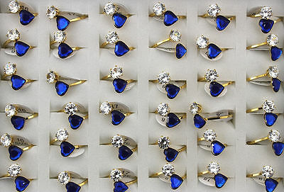 Bulk Lots 24pcs stainless steel Blue Acrylic Big CZ Gold Band Trendy Rings