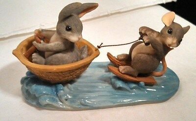 Fitz & Floyd Charming Tails A Day At Lake Rabbit & Mouse Collectible in Box