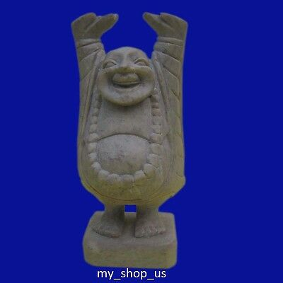Laughing  Buddha Statue Sculpture India Hand Carved Soapstone Marble Home Decor