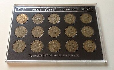 Gb Cased Set Of Gb Brass Threepence 1937 To 1952