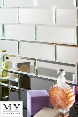 Silver mirrored mirror bevelled wall  tiles suitable for any bathroom kitchen