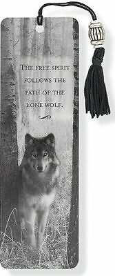 Wolf Beaded Bookmark Silver Bead and Silky Back Great Collection Gift