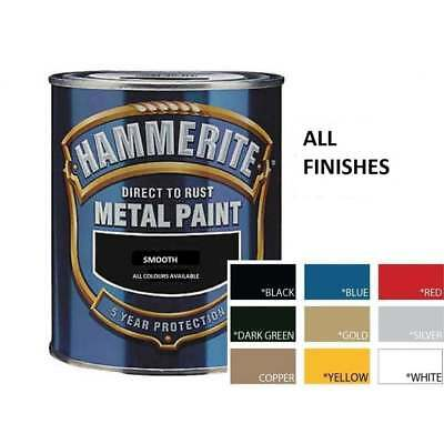 HAMMERITE Direct To Rust Metal Paint 750ml | All Colours Hammered Smooth Satin