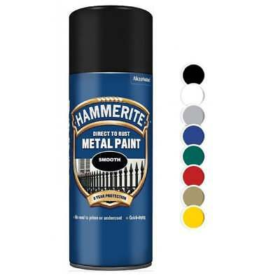 HAMMERITE Direct To Rust Metal Paint | Hammered Satin Smooth Aerosol Spray 400ml